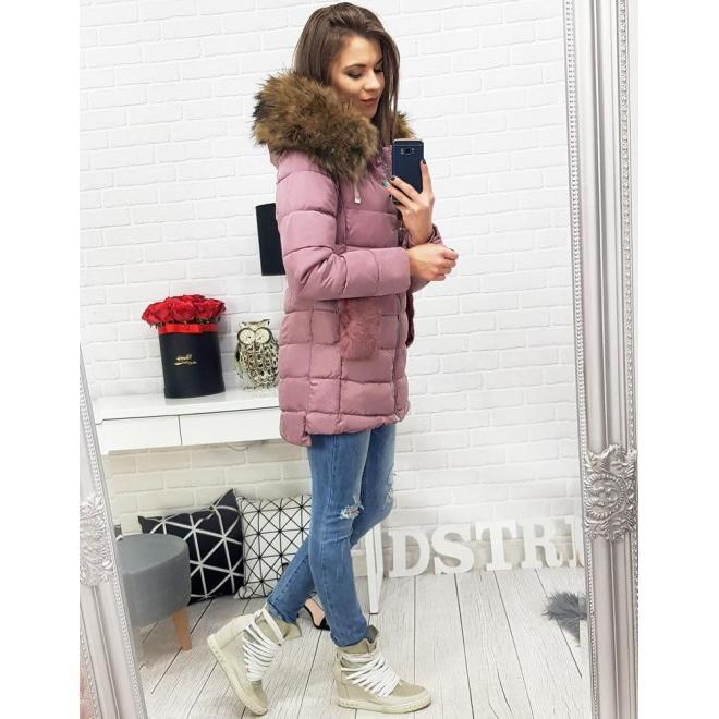 Zimná dámska bunda ružovej farby s odopínateľnou kožušinou