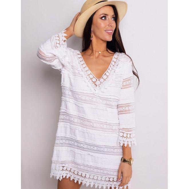 Dámske voľné šaty s čipkou v bielej farbe