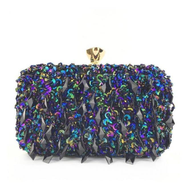 Modrá spoločenská kabelka s kryštálmi pre dámy