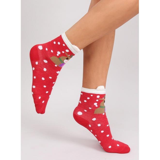 Červené štýlové ponožky so sobom pre dámy