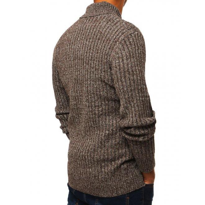 Štýlový pánsky sveter hnedej farby s golierom na gombíky