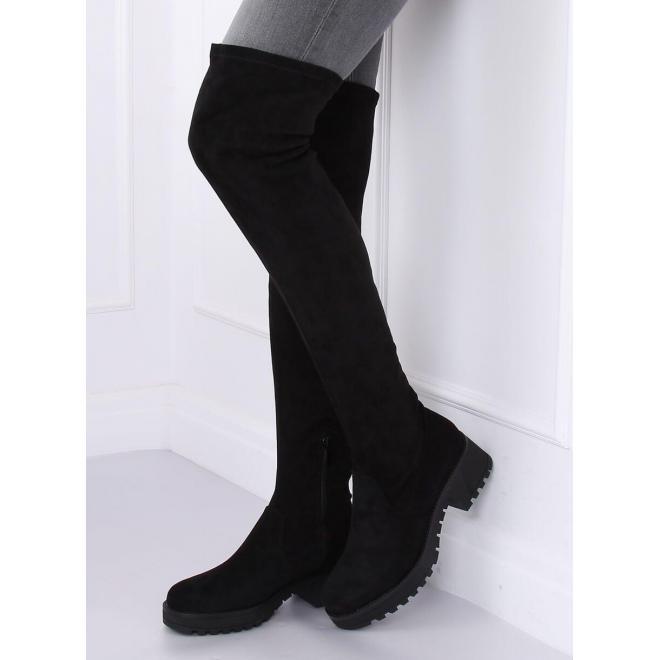 Čierne semišové čižmy nad kolená pre dámy