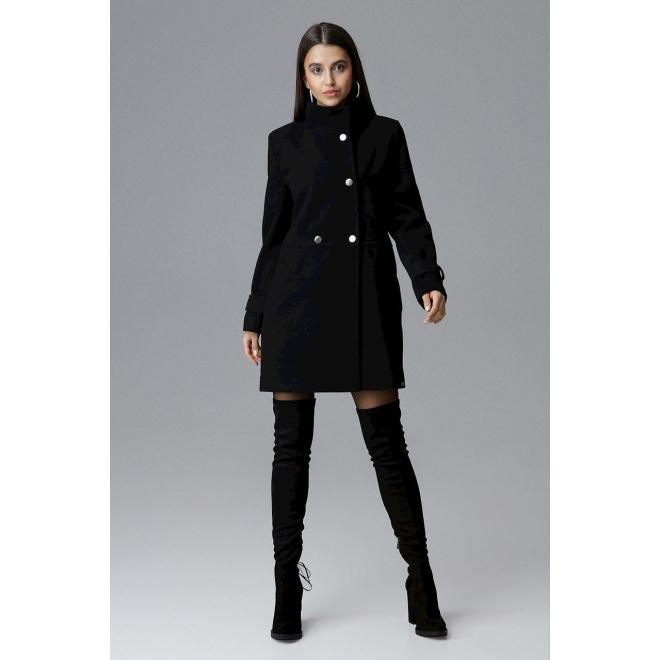 Klasické dámske kabáty čiernej farby so stojacím golierom