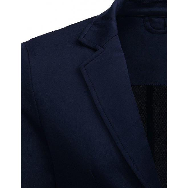 Neformálne pánske sako čiernej farby so záplatami na lakťoch