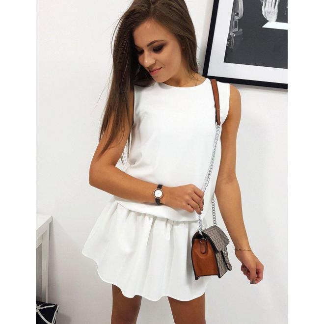 Letné dámske šaty bielej farby s volánom