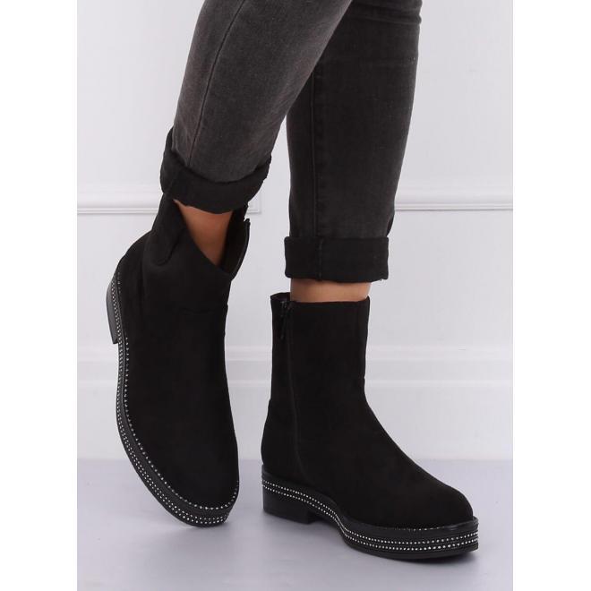 Dámske semišové topánky so zirkónmi na podrážke v čiernej farbe