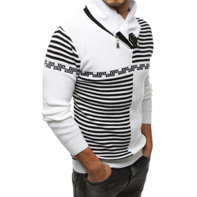 Pánsky vzorovaný sveter so šálovým golierom v bielej farbe