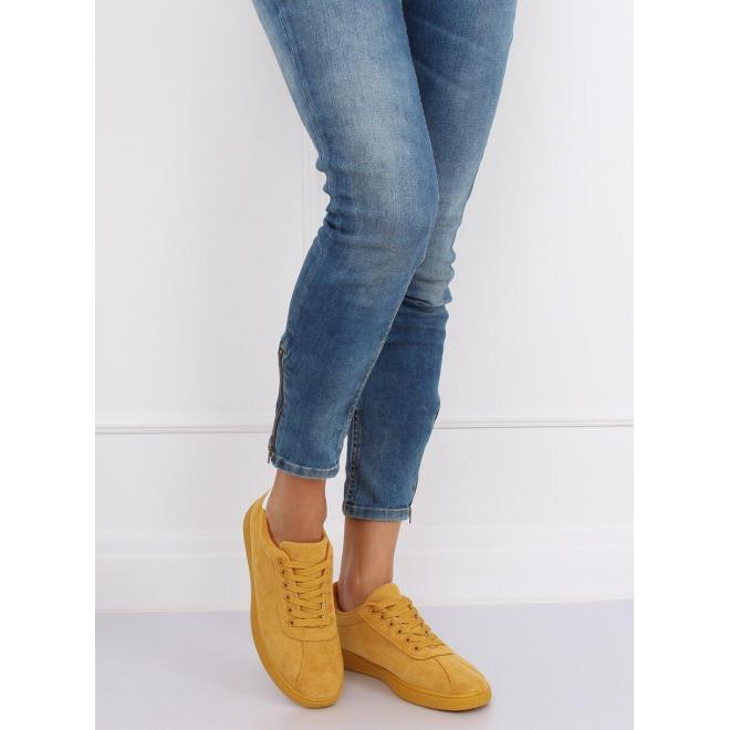 Dámske semišové tenisky s kontrastnou vložkou v žltej farbe