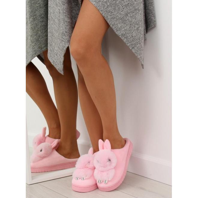 Módne dámske papuče sivej farby s králikom