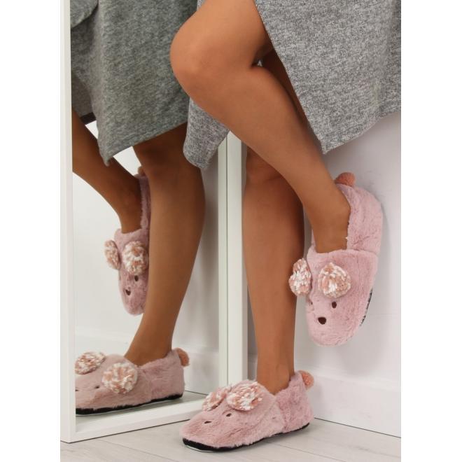 Dámske kožušinové papuče s ušami a chvostom v bielej farbe