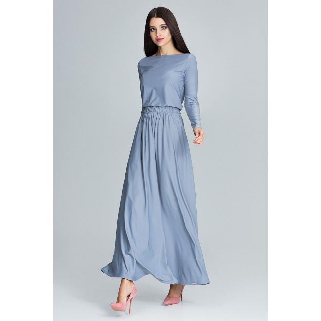 Dámske dlhé šaty s dlhým rukávom v sivej farbe