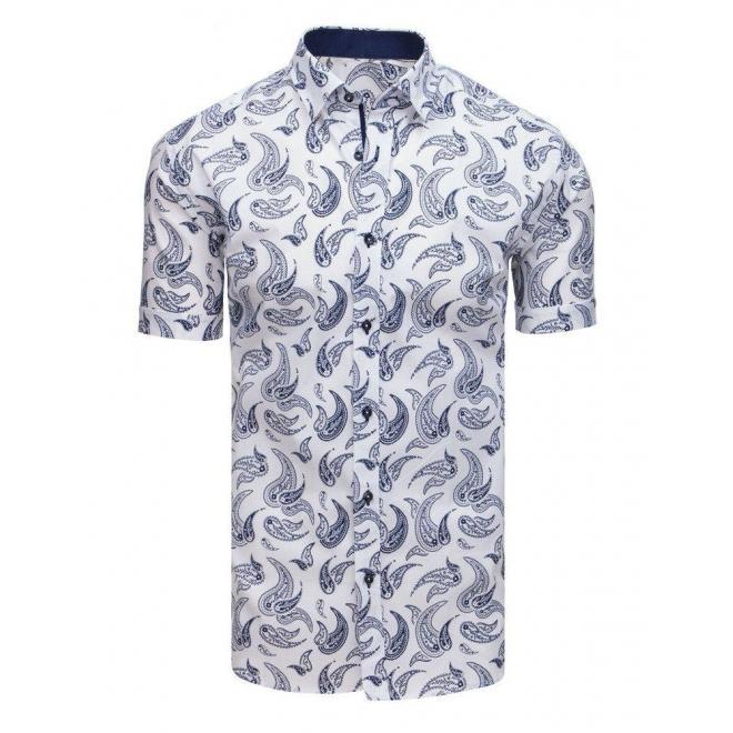 Vzorovaná pánska košeľa modrej farby s krátkym rukávom