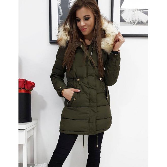 Prešívaná dámska bunda olivovej farby na zimu
