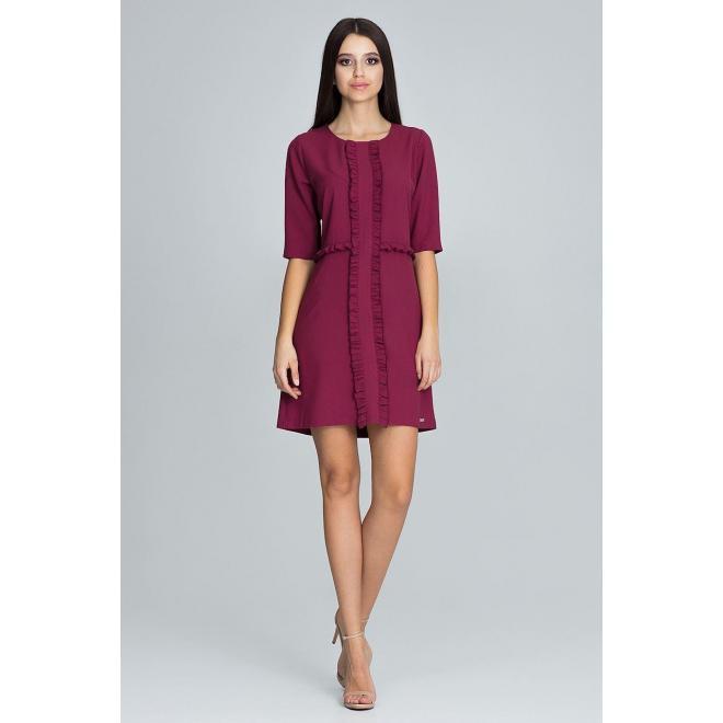Dámske elegantné šaty s 3/4 rukávom v bordovej farbe