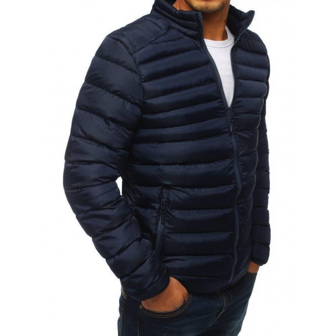 Tmavomodrá prešívaná bunda bez kapucne pre pánov