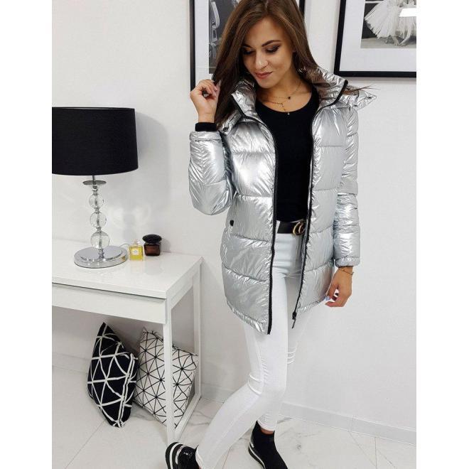 Metalická dámska bunda striebornej farby na zimu