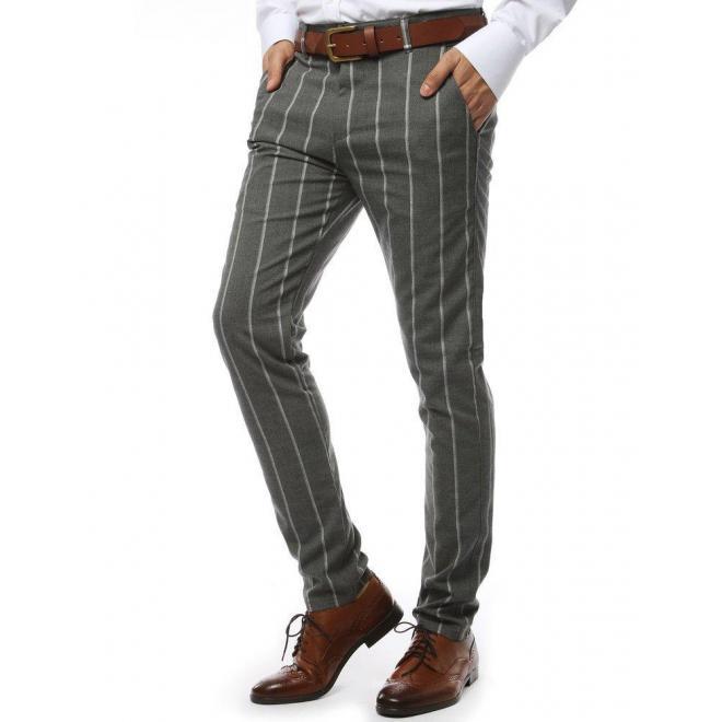 Tmavosivé pásikavé nohavice pre pánov