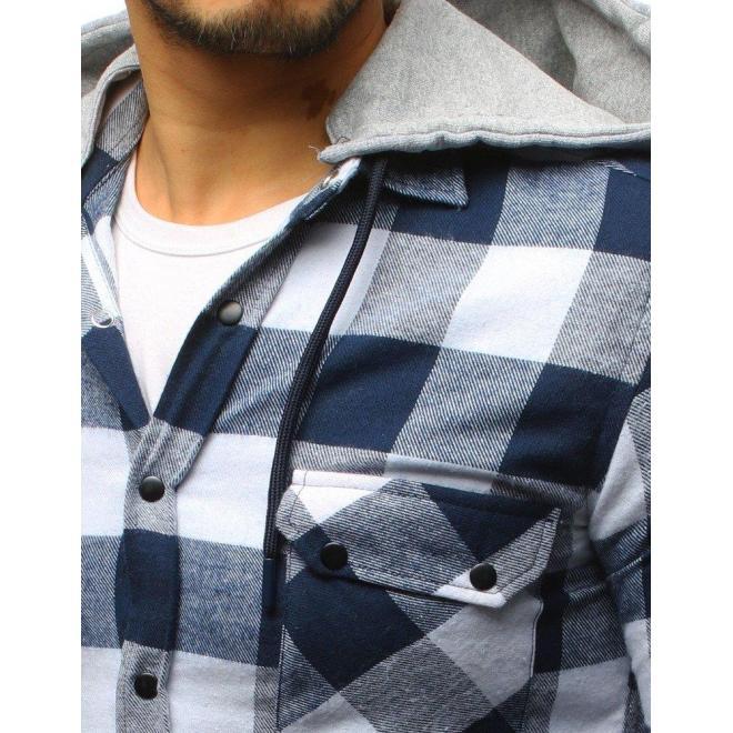 Kockovaná pánska košeľa modro-červenej farby s dlhým rukávom