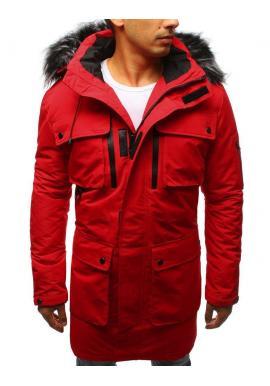 Červená zimná Parka s odopínacou kapucňou pre pánov