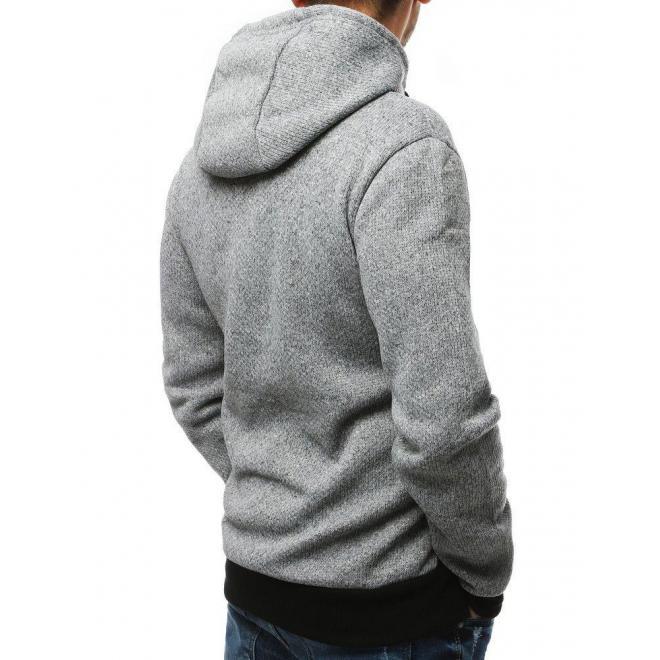 Športová pánska mikina sivej farby s potlačou