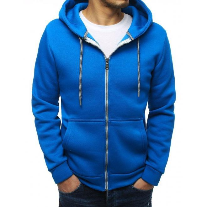 Modrá klasická mikina s kapucňou pre pánov