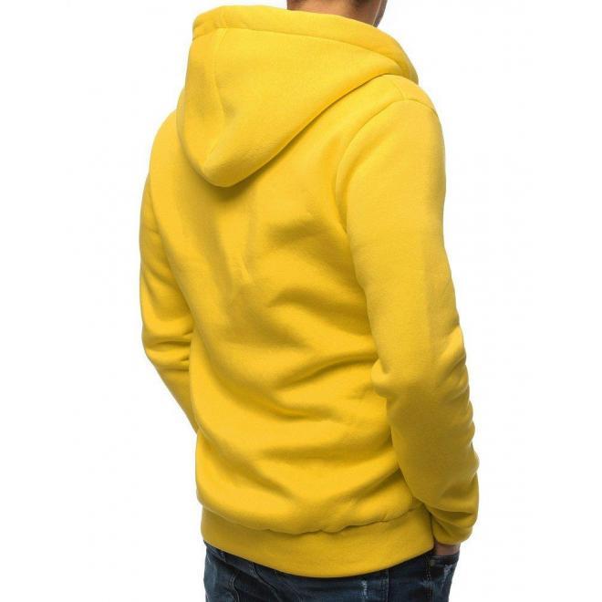 Pánska klasická mikina s kapucňou v žltej farbe