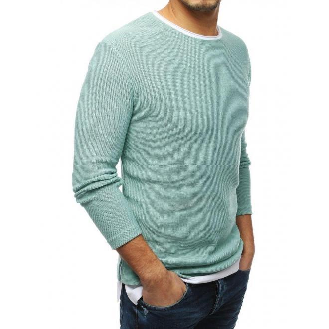 Pánsky módny sveter s rázporkami na bokoch v mätovej farbe