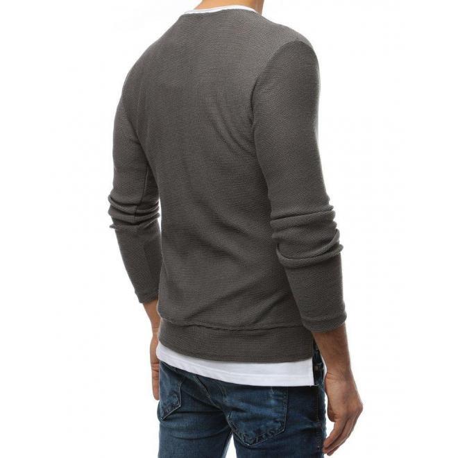 Módny pánsky sveter tmavosivej farby s rázporkami na bokoch