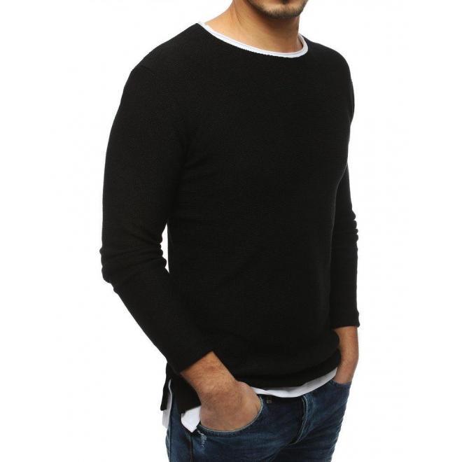 Čierny módny sveter s rázporkami na bokoch pre pánov