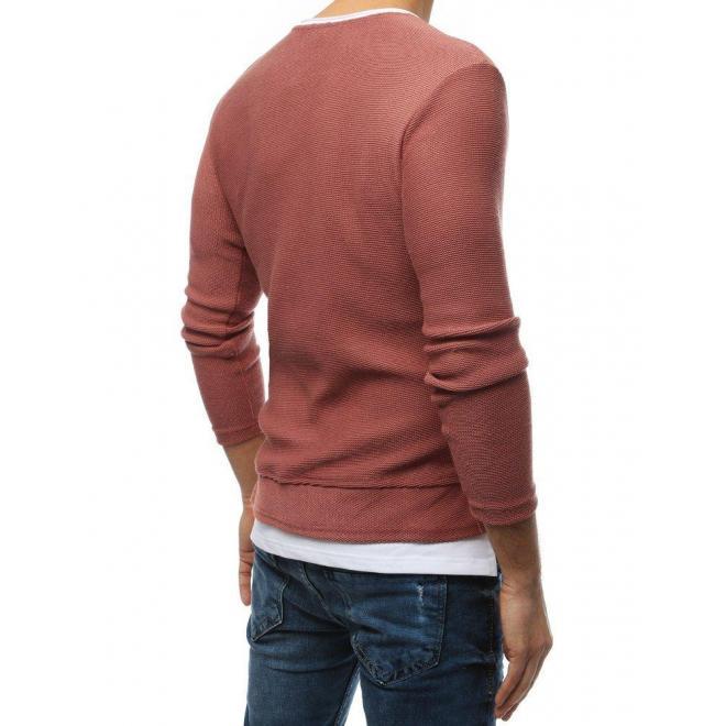 Pánsky módny sveter s rázporkami na bokoch v ružovej farbe