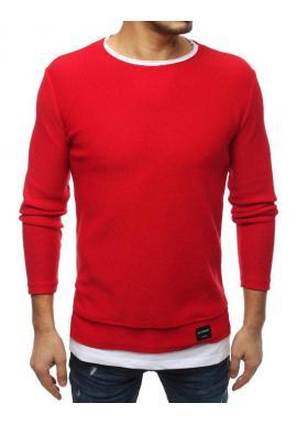 Módny pánsky sveter červenej farby s rázporkami na bokoch