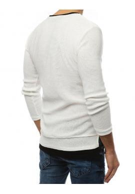 Biely módny sveter s rázporkami na bokoch pre pánov
