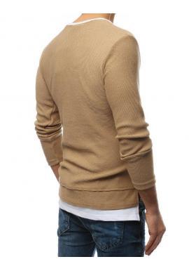 Pánske módne svetre s rázporkami na bokoch v hnedej farbe