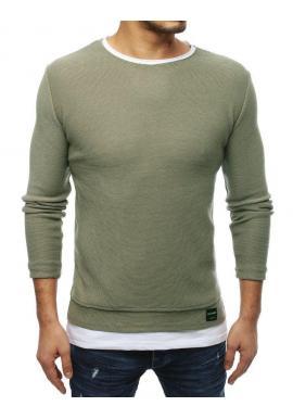Módny pánsky sveter kaki farby s rázporkami na bokoch