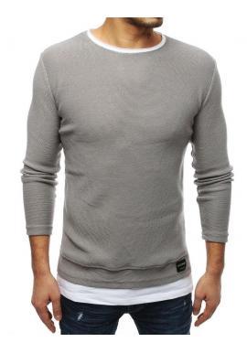 Svetlosivý módny sveter s rázporkami na bokoch pre pánov