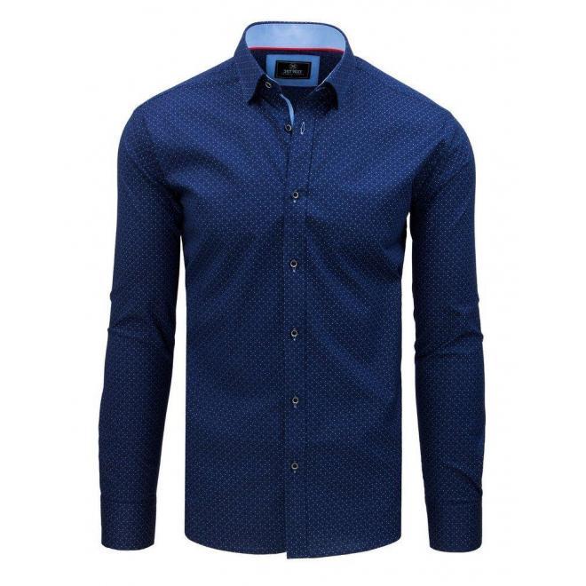 Modrá vzorovaná košeľa s dlhým rukávom pre pánov