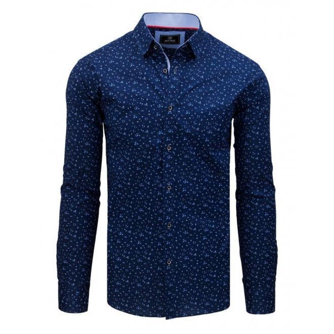 Tmavomodrá vzorovaná košeľa s dlhým rukávom pre pánov