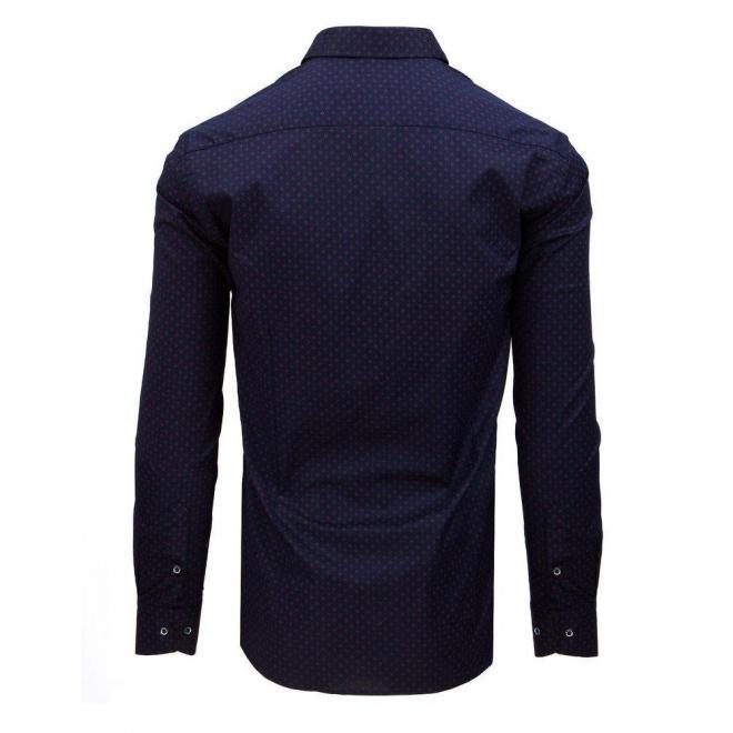 Pánska vzorovaná košeľa s dlhým rukávom v tmavomodrej farbe