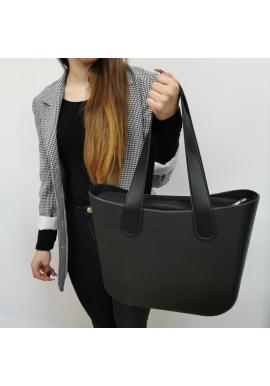 Dámska silikónová kabelka s veľkými rúčkami v čiernej farbe