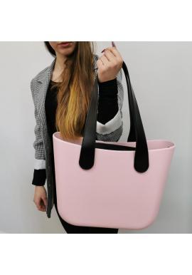 Dámska silikónová kabelka s veľkými rúčkami v ružovej farbe