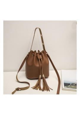 Hnedá štýlová kabelka vo forme vrecka pre dámy