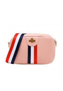 Mini dámska kabelka ružovej farby s kontrastným pásom