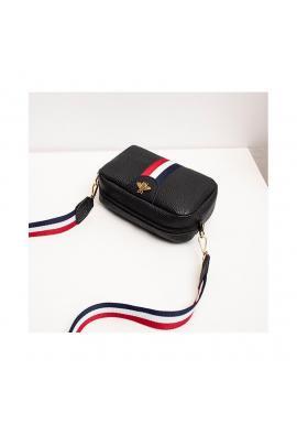 Čierna mini kabelka s kontrastným pásom pre dámy
