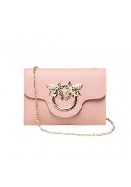 Ružová mini kabelka so zlatou ozdobou pre dámy