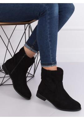 Semišové dámske čižmy čiernej farby