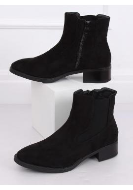Semišové dámske topánky čiernej farby s nízkym opätkom