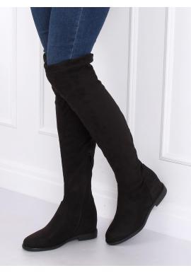 Čierne semišové čižmy nad kolená na skrytom opätku pre dámy