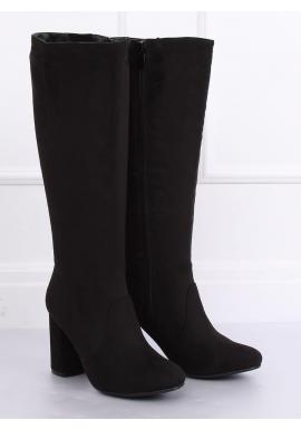 Klasické dámske čižmy čiernej farby na širokom podpätku