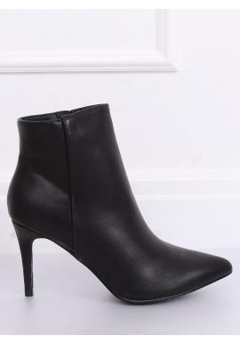 Dámske členkové topánky na štíhlom podpätku v čiernej farbe