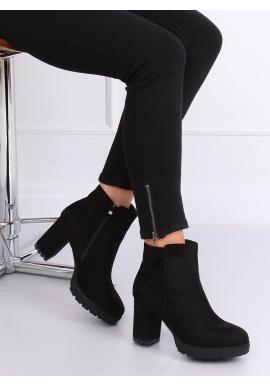Čierne semišové čižmy na stabilnom podpätku pre dámy
